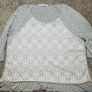 Maurices White Lace Gray Top